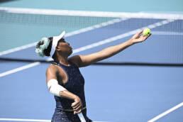 Venus Williams serving at the 2021 Miami Open